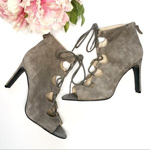 ▫️Nine West▫️ open toe lace up gray high heels